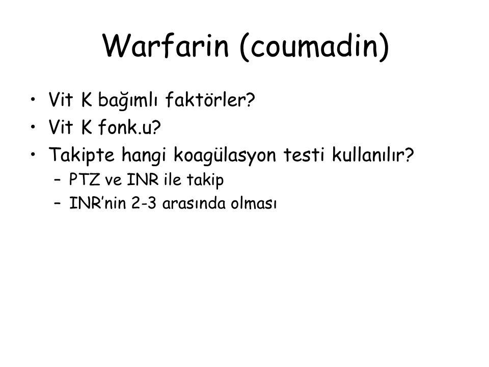 Warfarin (coumadin) Vit K bağımlı faktörler Vit K fonk.u