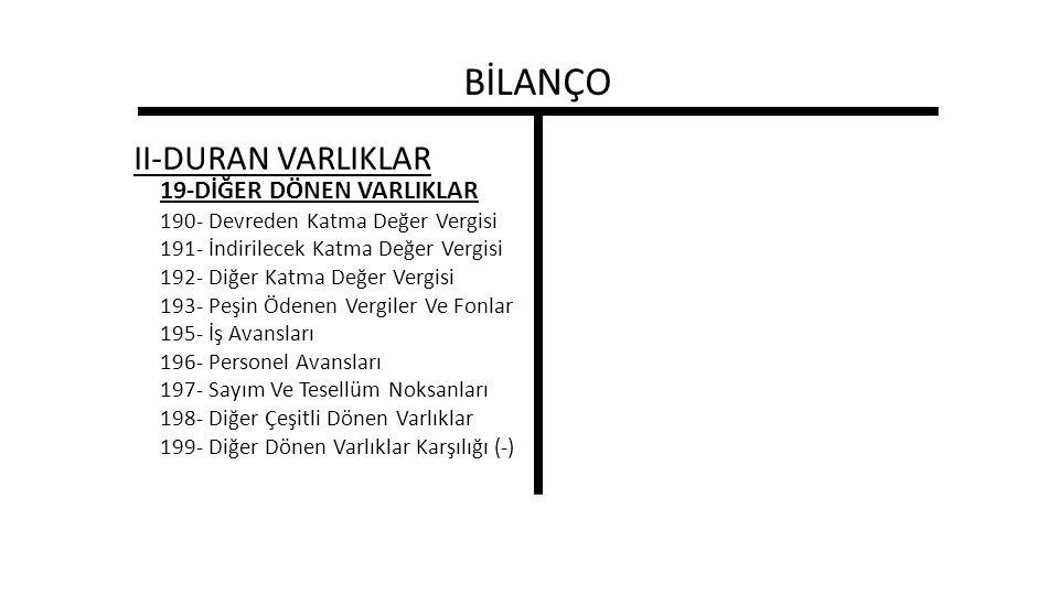 BİLANÇO II-DURAN VARLIKLAR 19-DİĞER DÖNEN VARLIKLAR