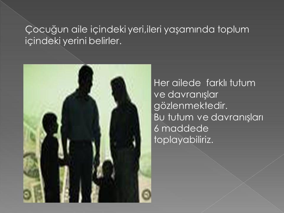 Çocuğun aile içindeki yeri,ileri yaşamında toplum içindeki yerini belirler.