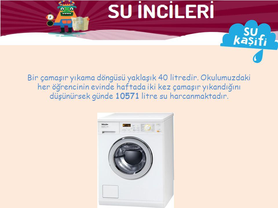 Bir çamaşır yıkama döngüsü yaklaşık 40 litredir