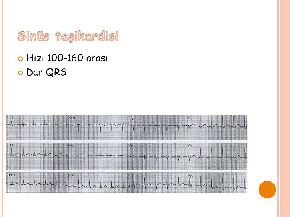 Sinüs taşikardisi Hızı 100-160 arası Dar QRS
