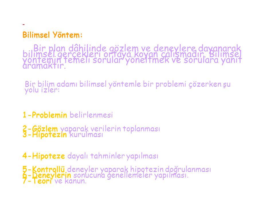 - Bilimsel Yöntem: