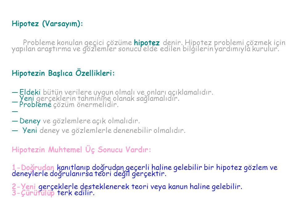 Hipotez (Varsayım): Probleme konulan geçici çözüme hipotez denir. Hipotez problemi çözmek için.