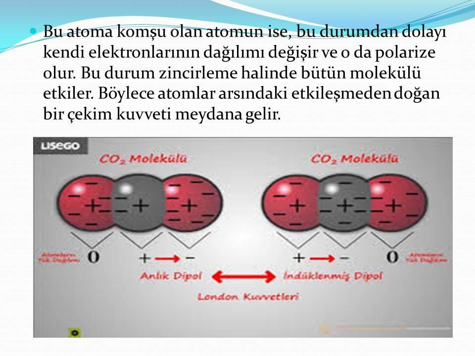 Bu atoma komşu olan atomun ise, bu durumdan dolayı kendi elektronlarının dağılımı değişir ve o da polarize olur.