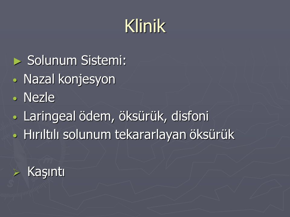 Klinik Solunum Sistemi: Nazal konjesyon Nezle