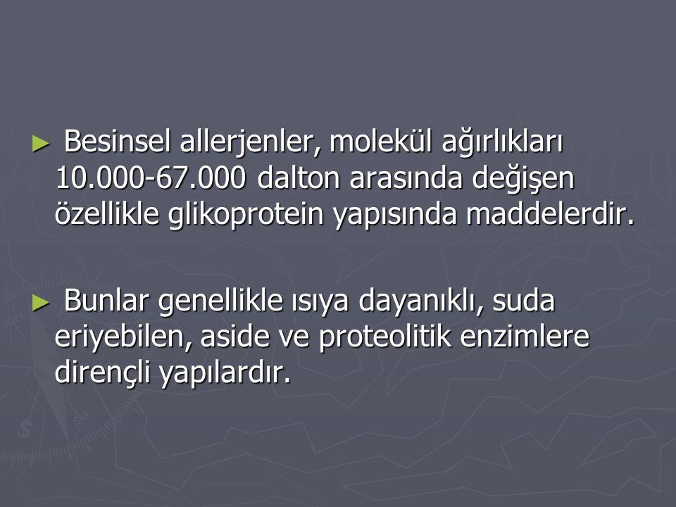 Besinsel allerjenler, molekül ağırlıkları 10. 000-67