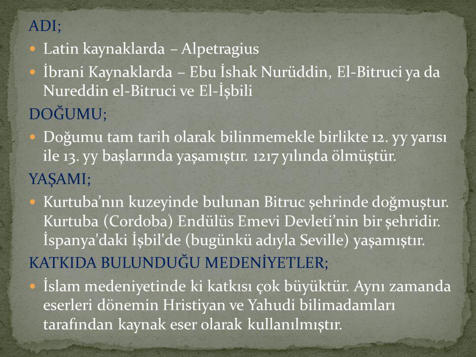 ADI; Latin kaynaklarda – Alpetragius. İbrani Kaynaklarda – Ebu İshak Nurüddin, El-Bitruci ya da Nureddin el-Bitruci ve El-İşbili.