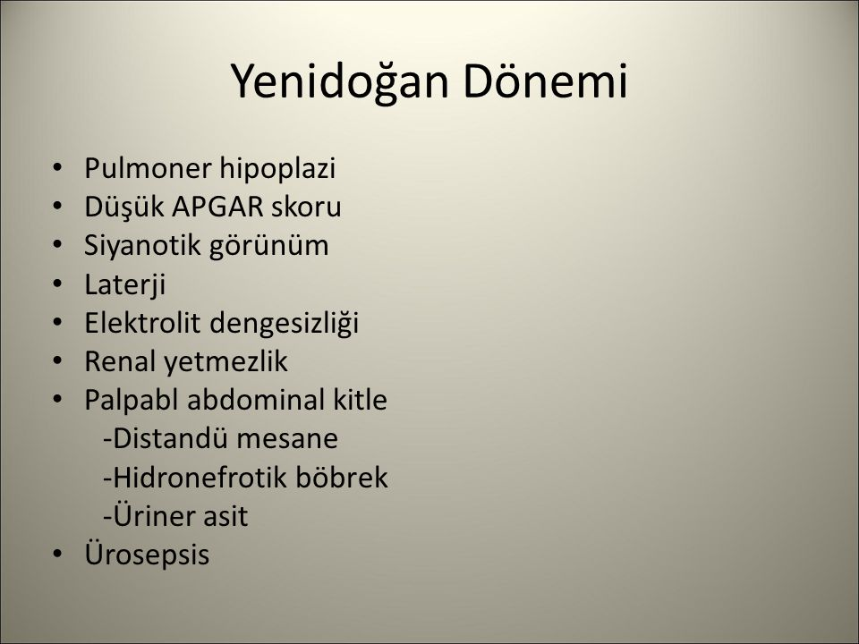 Yenidoğan Dönemi Pulmoner hipoplazi Düşük APGAR skoru