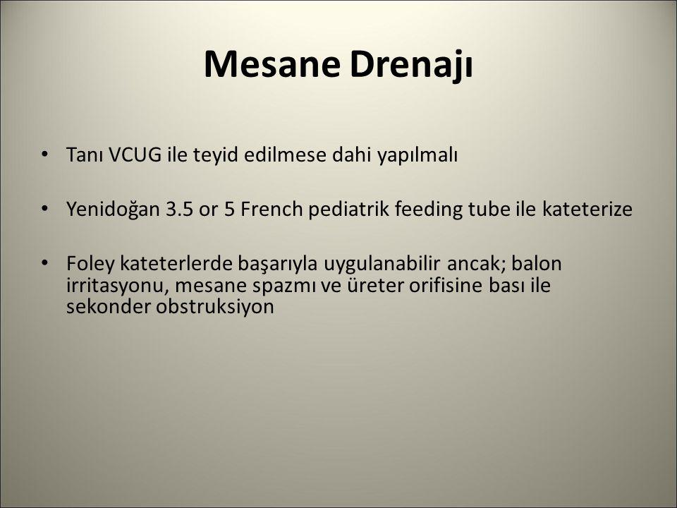 Mesane Drenajı Tanı VCUG ile teyid edilmese dahi yapılmalı