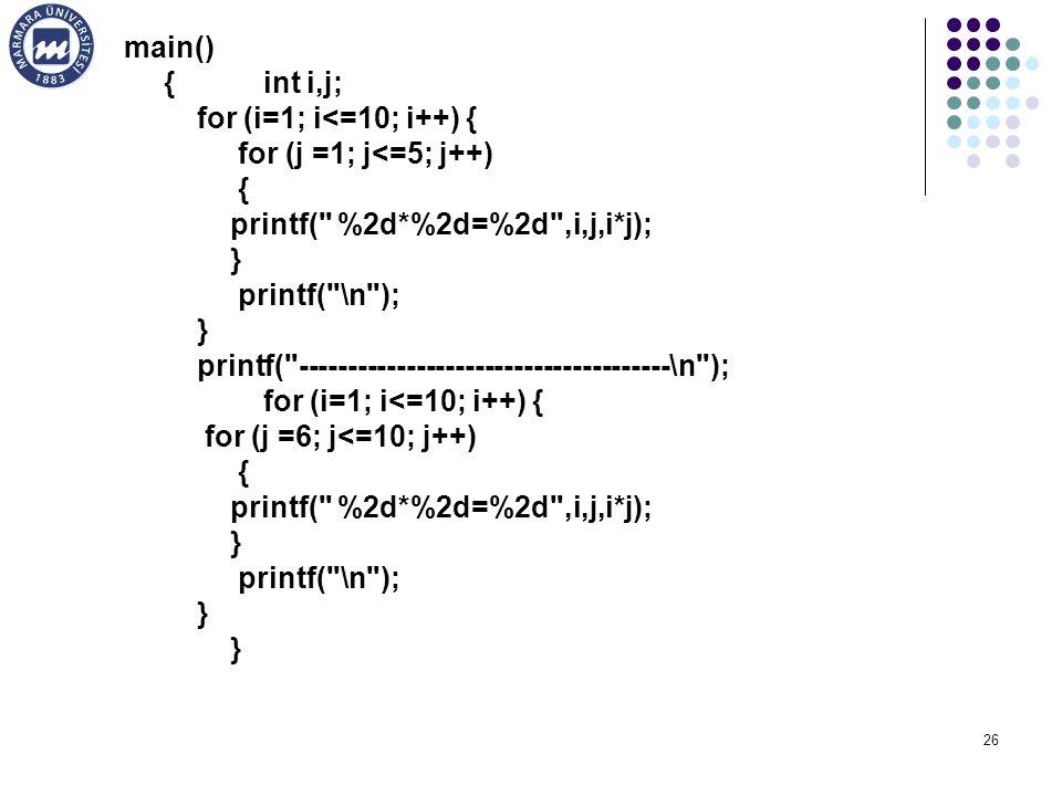 main() { int i,j; for (i=1; i<=10; i++) { for (j =1; j<=5; j++) { printf( %2d*%2d=%2d ,i,j,i*j);