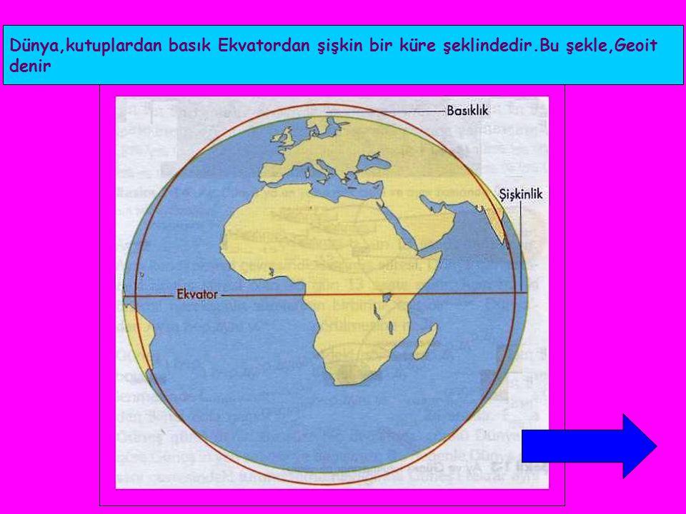 Dünya,kutuplardan basık Ekvatordan şişkin bir küre şeklindedir