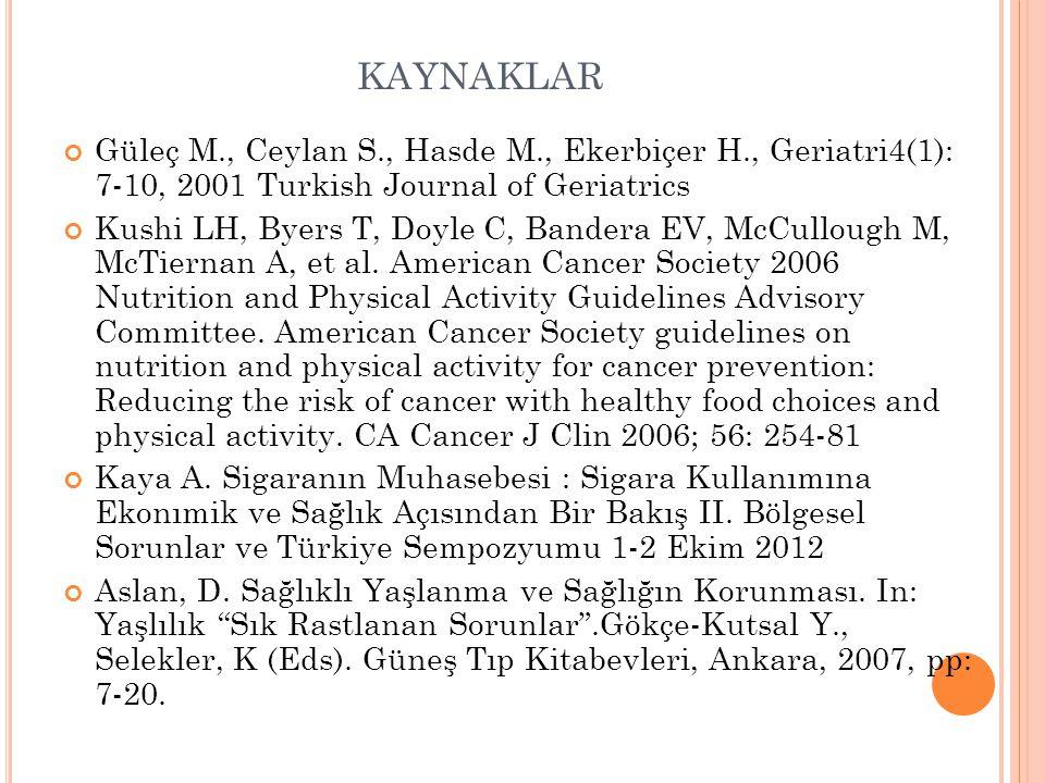 kaynaklar Güleç M., Ceylan S., Hasde M., Ekerbiçer H., Geriatri4(1): 7-10, 2001 Turkish Journal of Geriatrics.