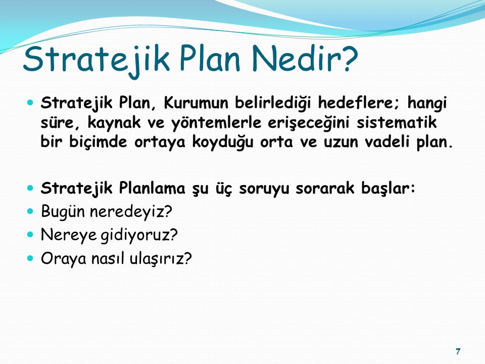 Stratejik Plan Nedir
