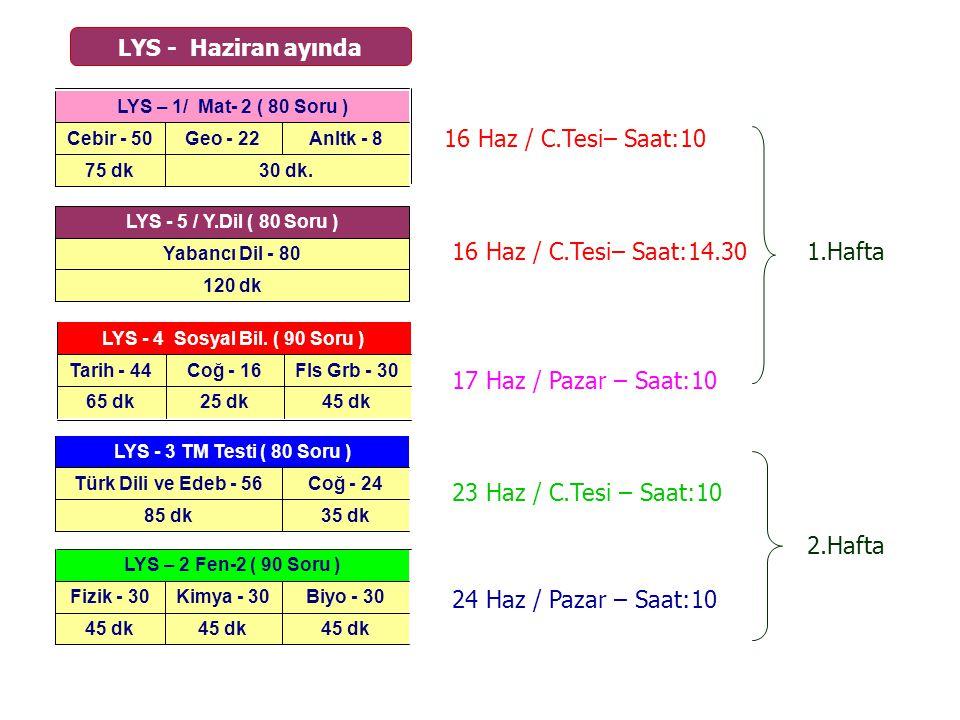 16 Haz / C.Tesi– Saat:10 16 Haz / C.Tesi– Saat:14.30 1.Hafta