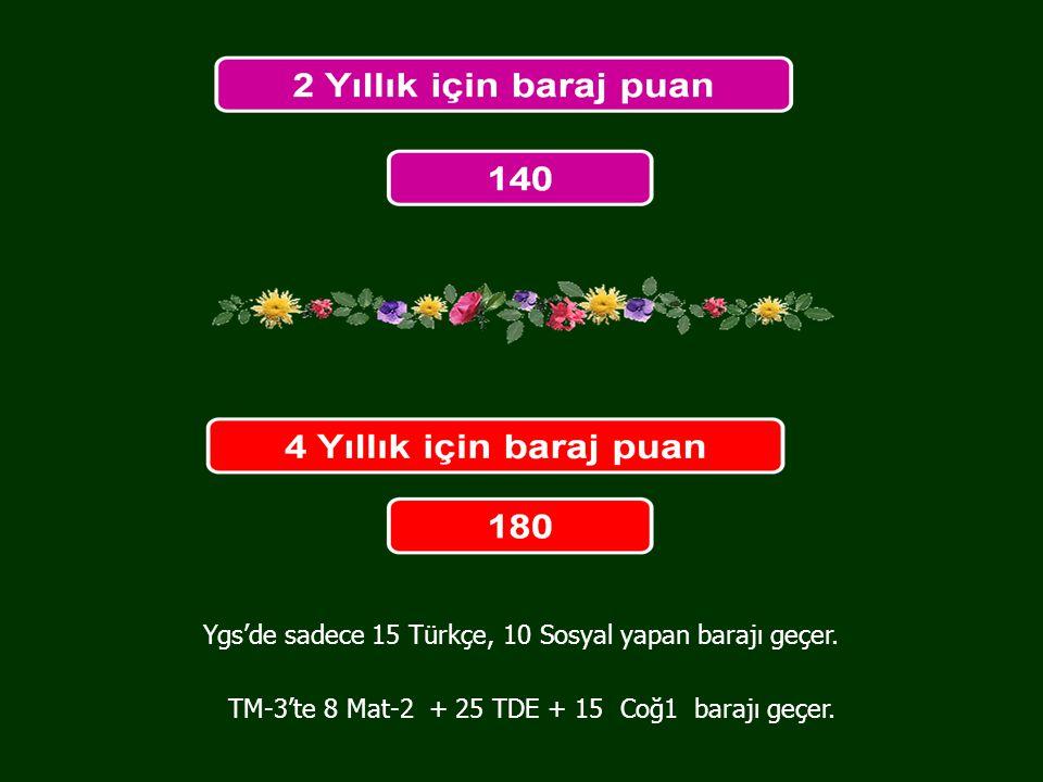 Ygs'de sadece 15 Türkçe, 10 Sosyal yapan barajı geçer.