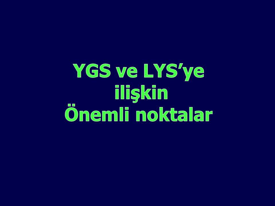 YGS ve LYS'ye ilişkin Önemli noktalar