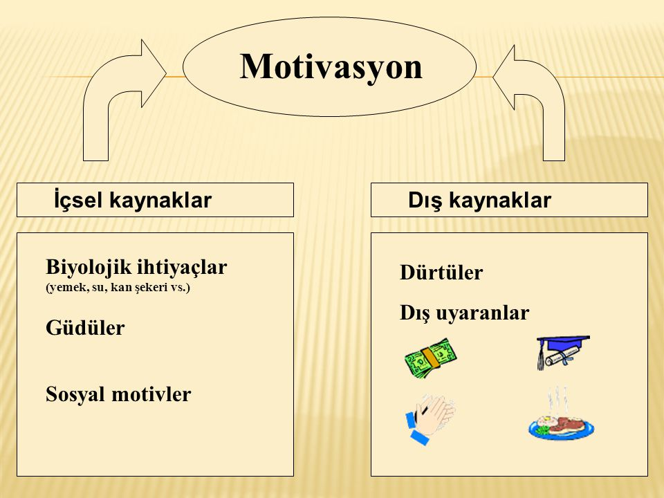 Motivasyon İçsel kaynaklar Dış kaynaklar