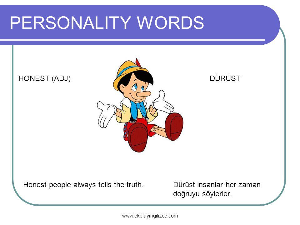 PERSONALITY WORDS HONEST (ADJ) DÜRÜST