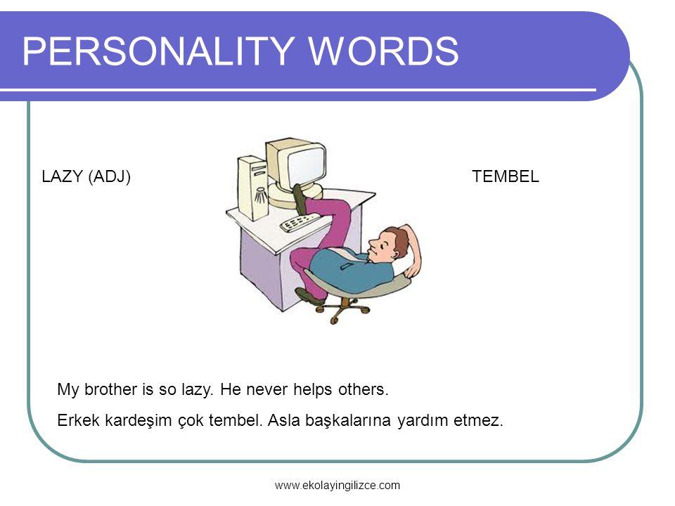 PERSONALITY WORDS LAZY (ADJ) TEMBEL