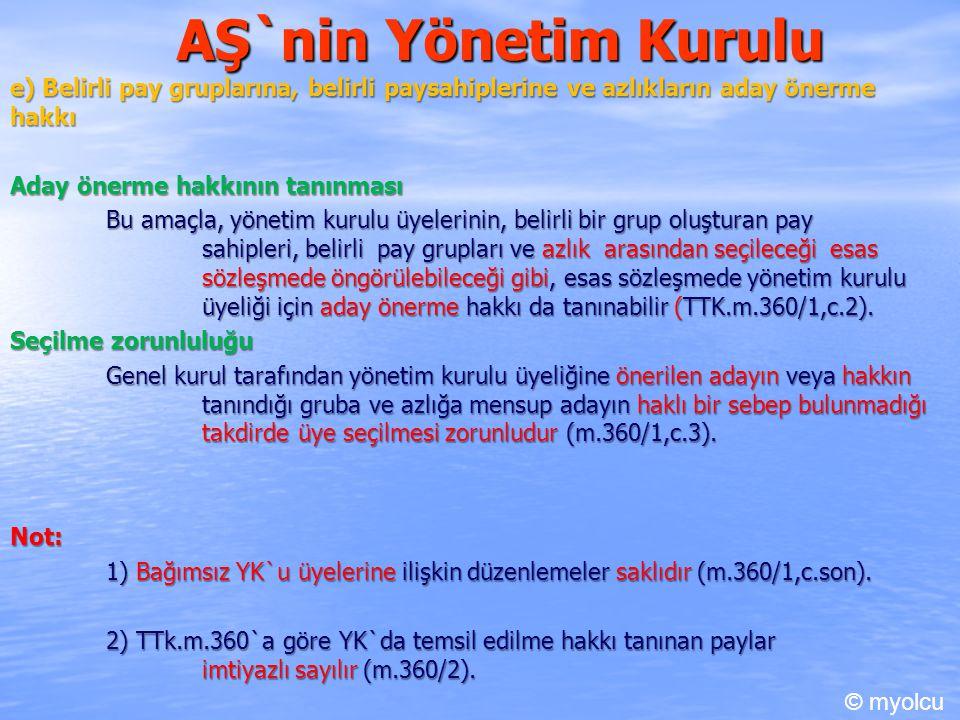 AŞ`nin Yönetim Kurulu e) Belirli pay gruplarına, belirli paysahiplerine ve azlıkların aday önerme hakkı.