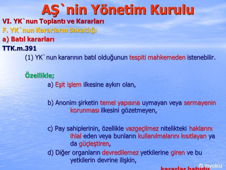 AŞ`nin Yönetim Kurulu VI. YK`nun Toplantı ve Kararları