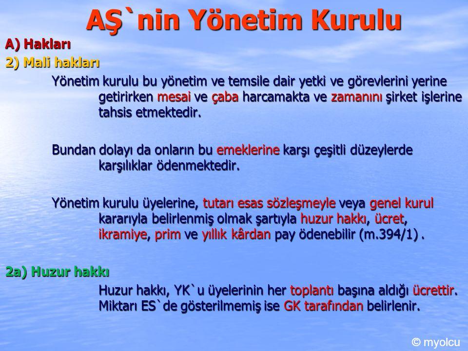 AŞ`nin Yönetim Kurulu A) Hakları 2) Mali hakları