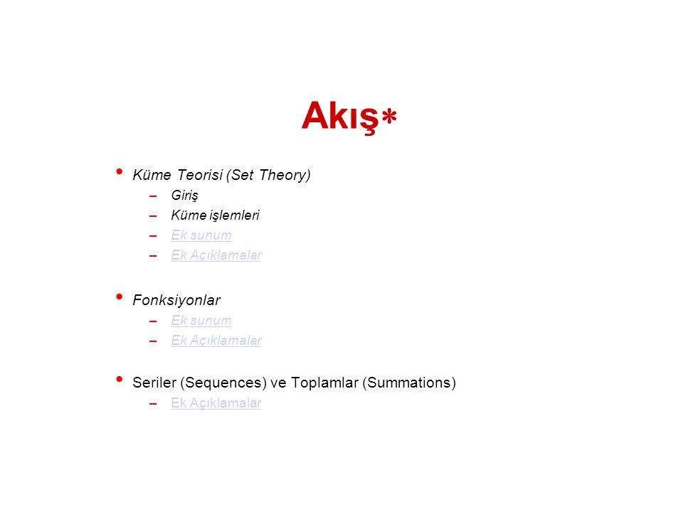 Akış Küme Teorisi (Set Theory) Fonksiyonlar
