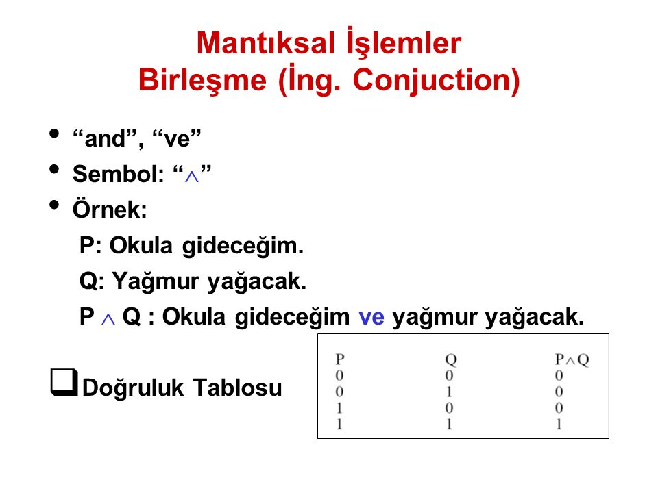 Mantıksal İşlemler Birleşme (İng. Conjuction)