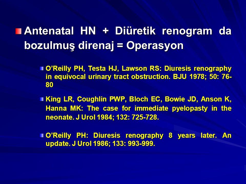 Antenatal HN + Diüretik renogram da bozulmuş direnaj = Operasyon