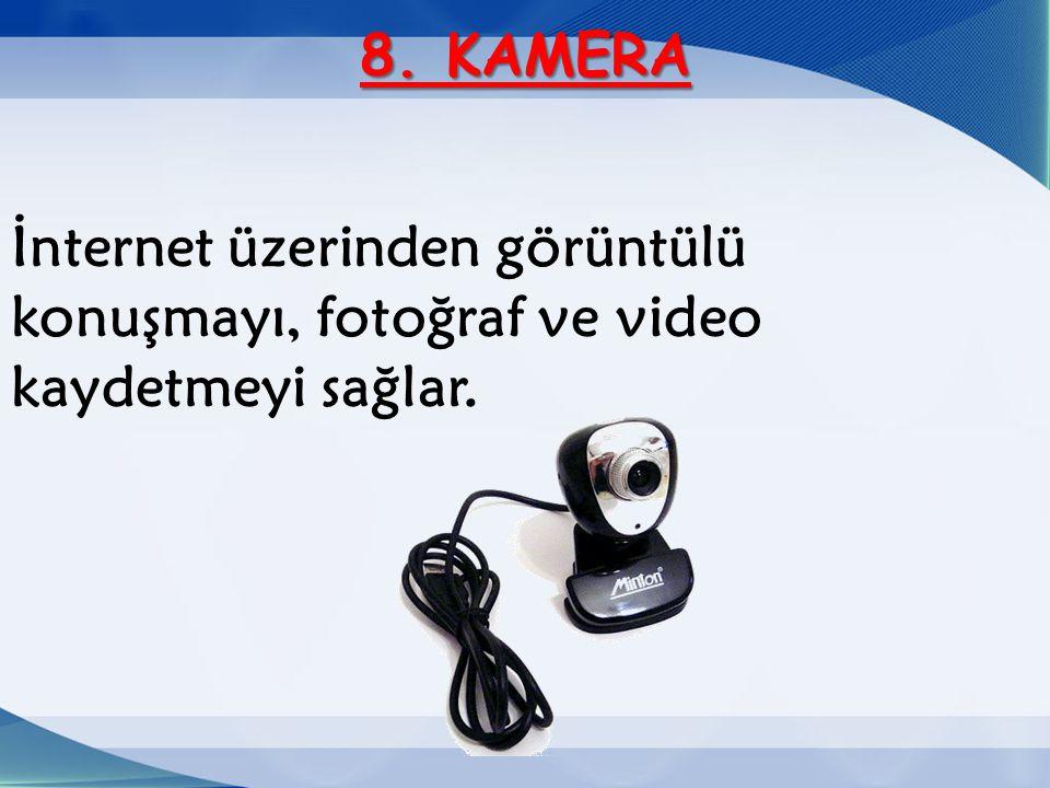 8. KAMERA İnternet üzerinden görüntülü konuşmayı, fotoğraf ve video kaydetmeyi sağlar.