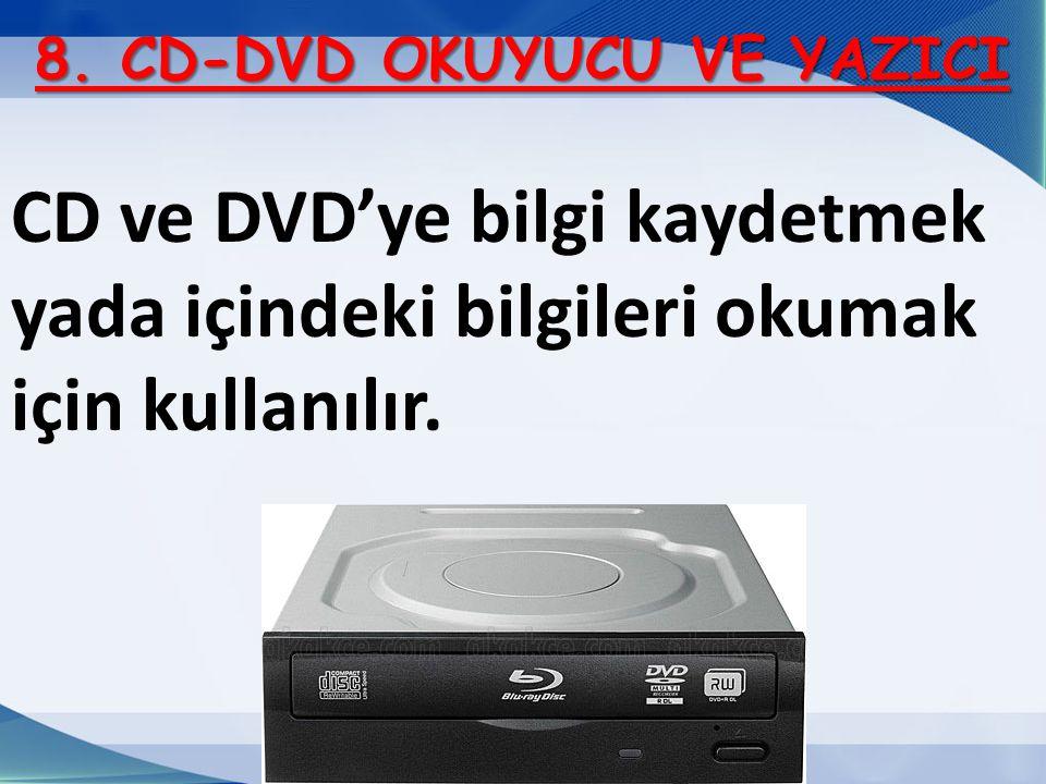 8. CD-DVD OKUYUCU VE YAZICI