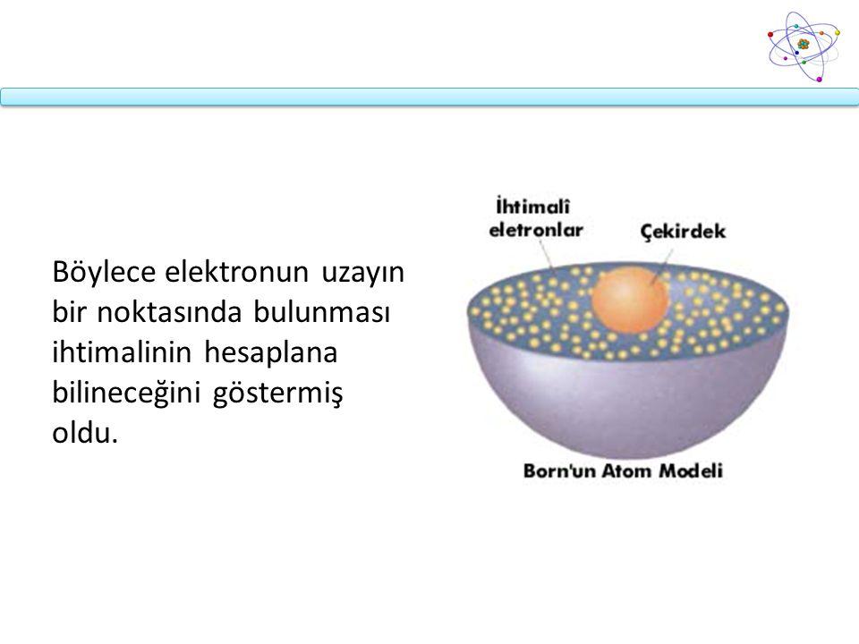 Böylece elektronun uzayın bir noktasında bulunması ihtimalinin hesaplana bilineceğini göstermiş oldu.