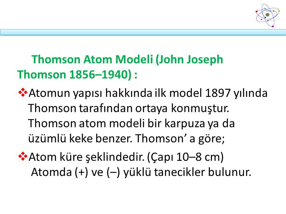 Thomson Atom Modeli (John Joseph Thomson 1856–1940) :