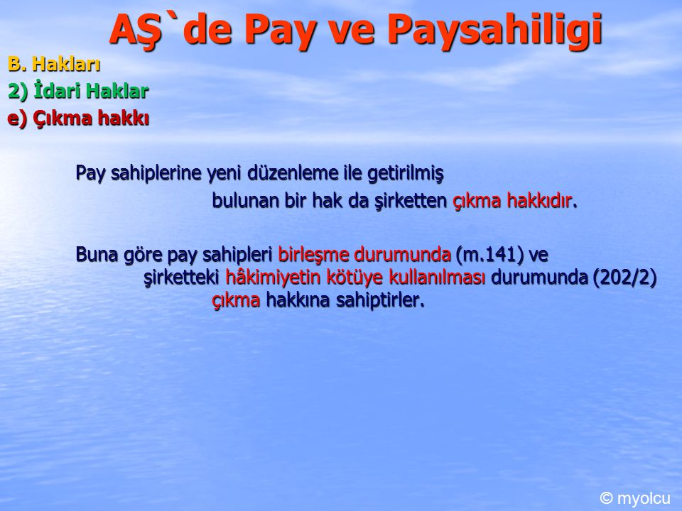 AŞ`de Pay ve Paysahiligi