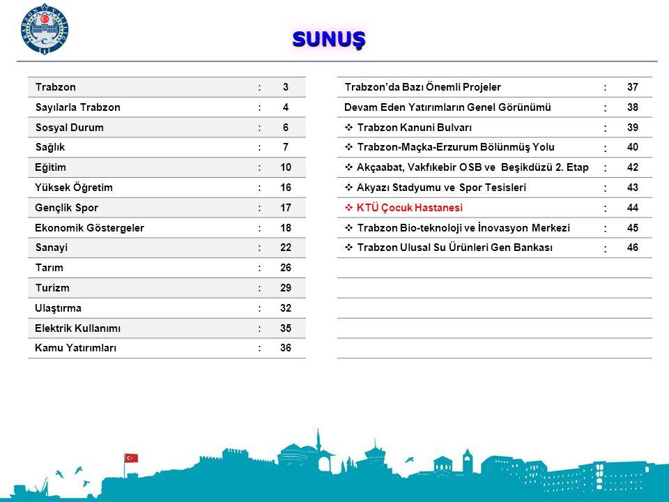 SUNUŞ Trabzon : 3 Trabzon'da Bazı Önemli Projeler 37 Sayılarla Trabzon
