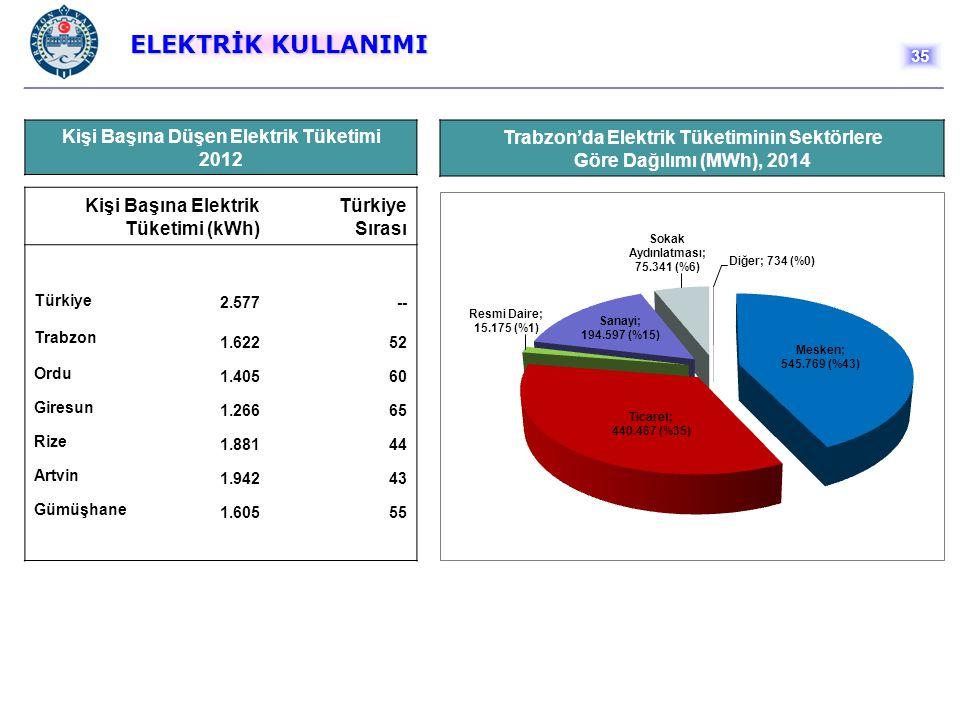 ELEKTRİK KULLANIMI Kişi Başına Düşen Elektrik Tüketimi 2012