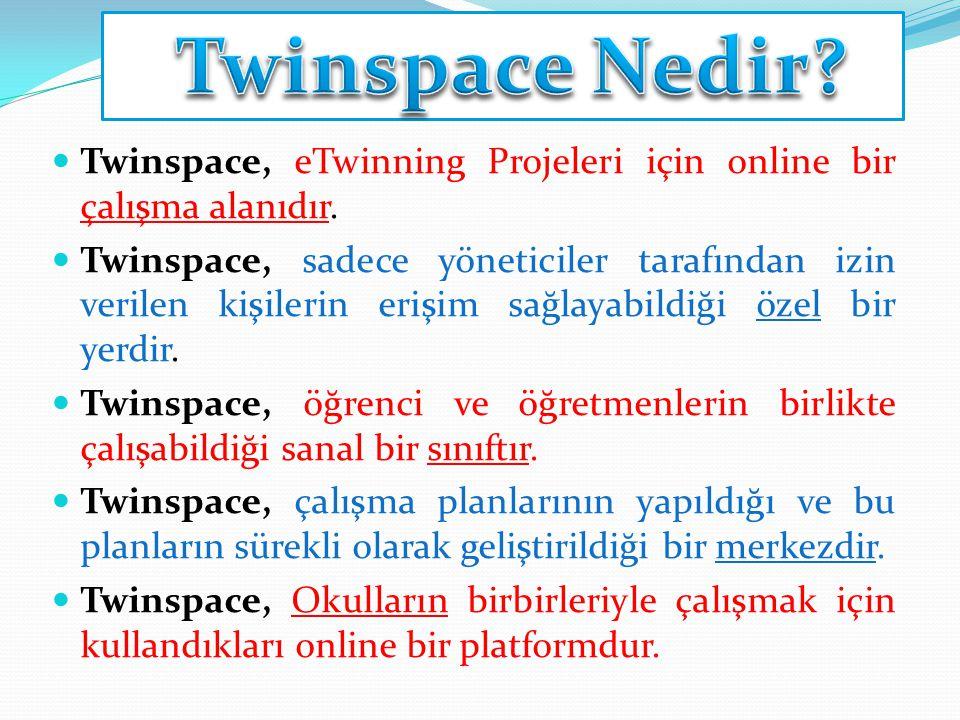 Twinspace Nedir Twinspace, eTwinning Projeleri için online bir çalışma alanıdır.