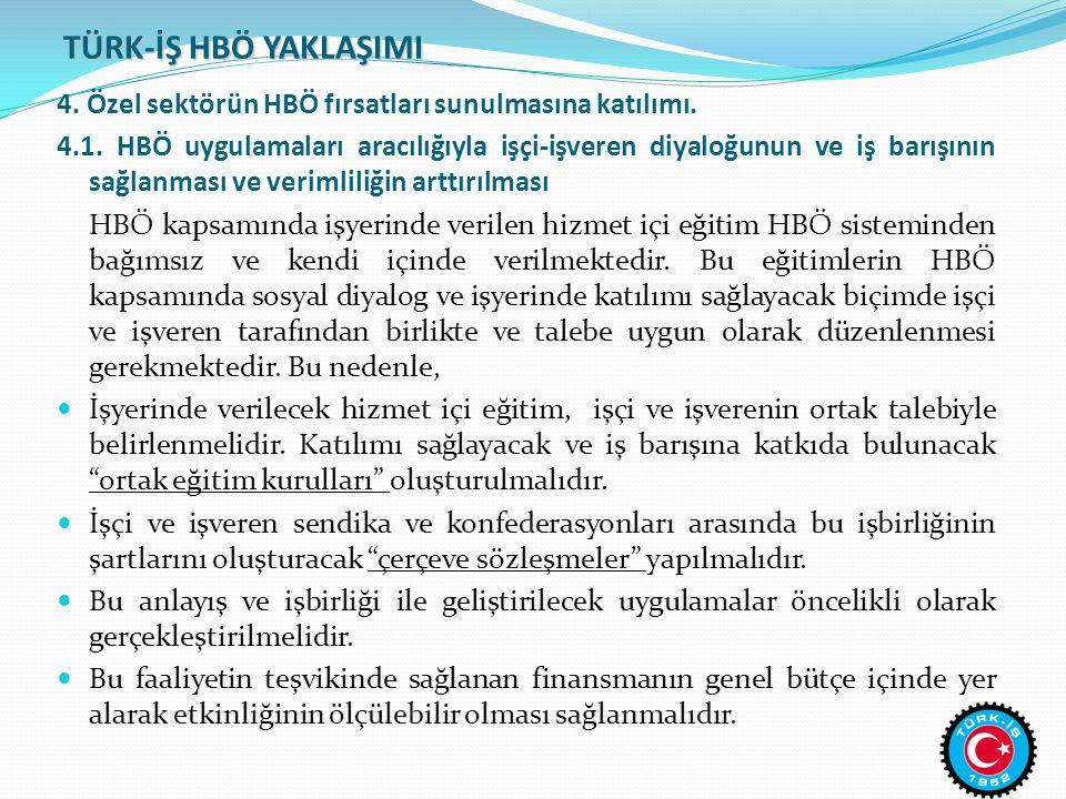 TÜRK-İŞ HBÖ YAKLAŞIMI 4. Özel sektörün HBÖ fırsatları sunulmasına katılımı.