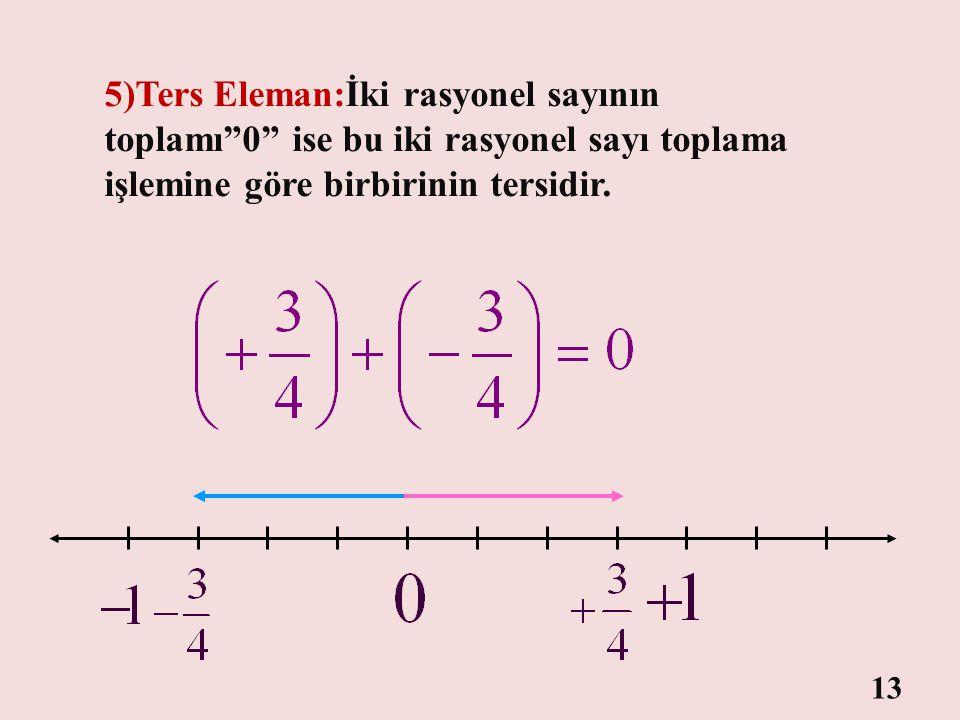 5)Ters Eleman:İki rasyonel sayının toplamı 0 ise bu iki rasyonel sayı toplama işlemine göre birbirinin tersidir.