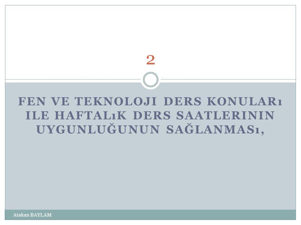 2 Fen ve Teknoloji ders konuları ile haftalık ders saatlerinin uygunluğunun sağlanması, Atakan BAYLAM.