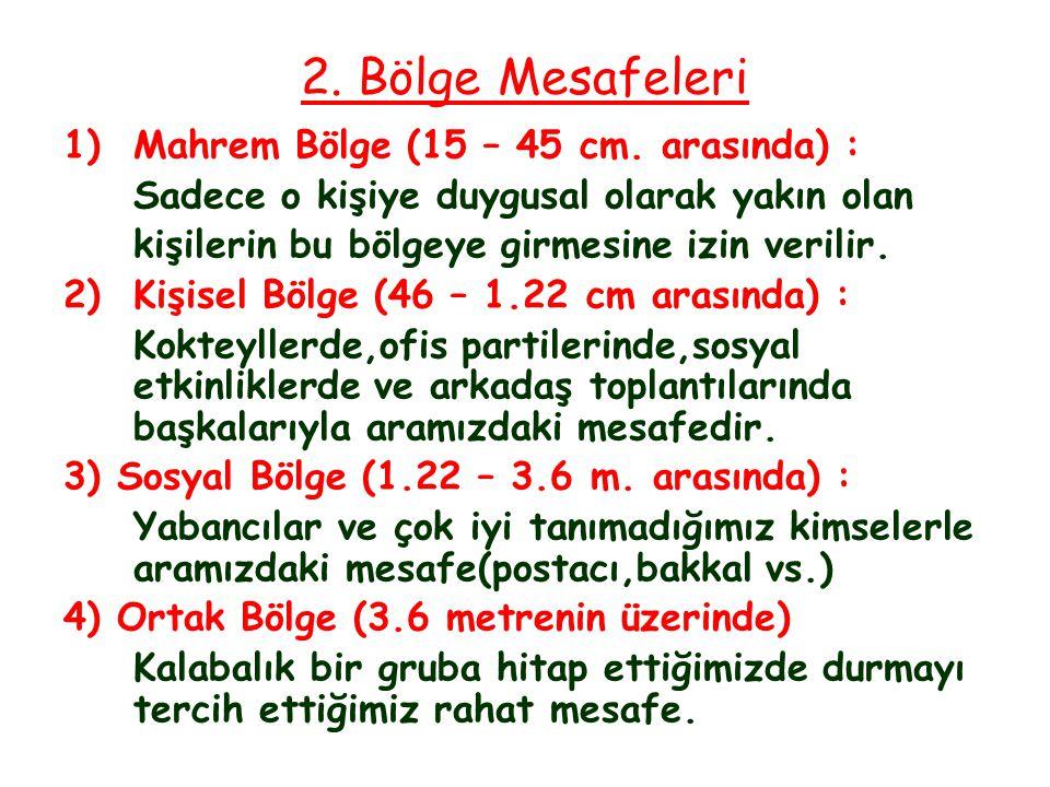 2. Bölge Mesafeleri 1) Mahrem Bölge (15 – 45 cm. arasında) :