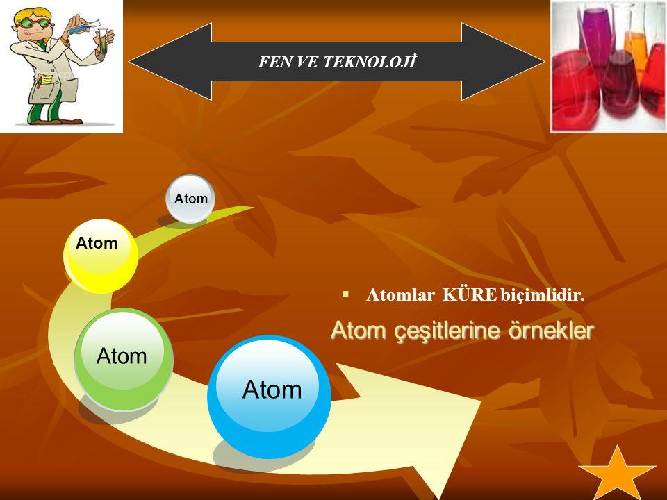 Atom Atom Atomlar KÜRE biçimlidir. Atom Atom çeşitlerine örnekler Atom