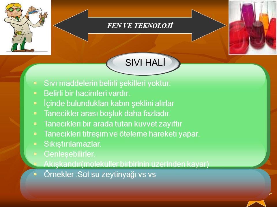 SIVI HALİ Sıvı maddelerin belirli şekilleri yoktur.