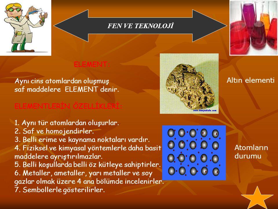 ELEMENT: Aynı cins atomlardan oluşmuş. saf maddelere ELEMENT denir. ELEMENTLERİN ÖZELLİKLERİ: 1. Aynı tür atomlardan oluşurlar.