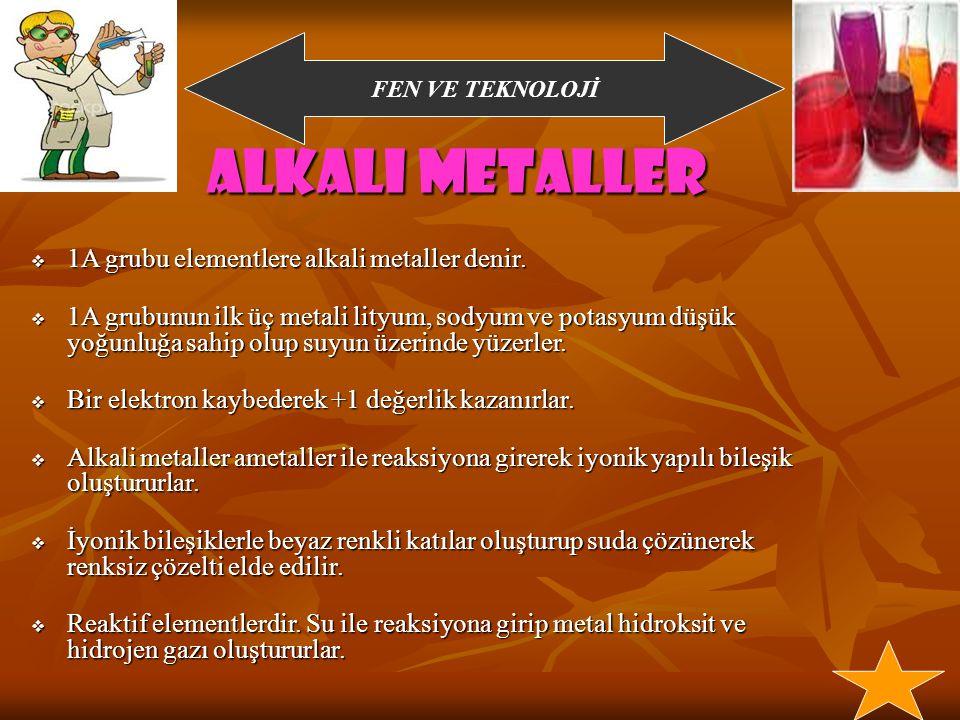 Alkali metaller 1A grubu elementlere alkali metaller denir.