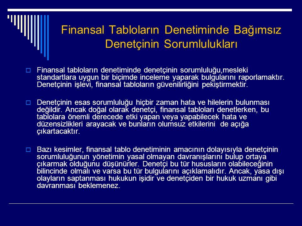 Finansal Tabloların Denetiminde Bağımsız Denetçinin Sorumlulukları