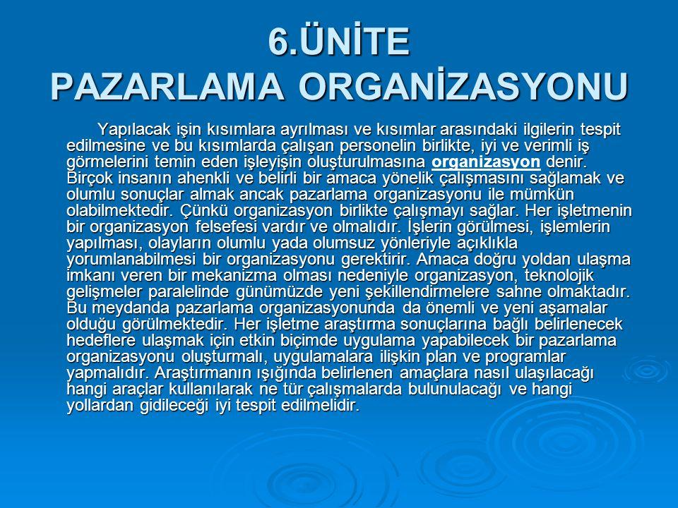 6.ÜNİTE PAZARLAMA ORGANİZASYONU
