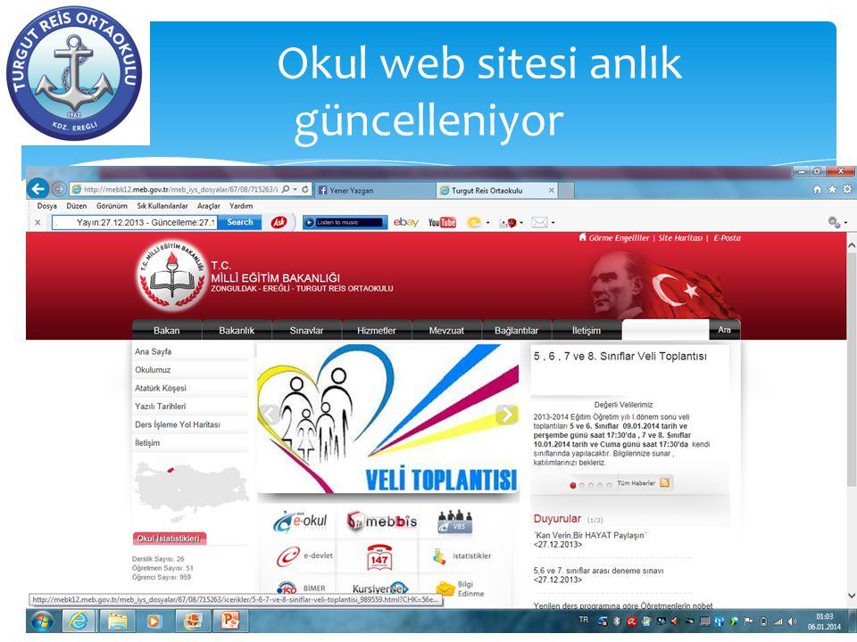 Okul web sitesi anlık güncelleniyor