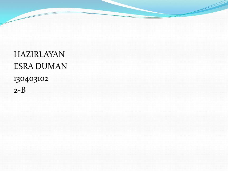 HAZIRLAYAN ESRA DUMAN 130403102 2-B