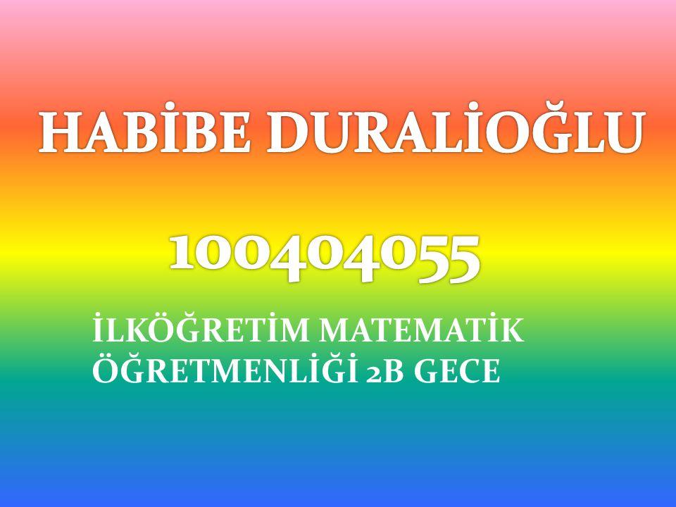 HABİBE DURALİOĞLU 100404055 İLKÖĞRETİM MATEMATİK ÖĞRETMENLİĞİ 2B GECE